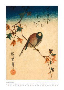"""Augustblatt zum Kalender """"DIe Eleganz der Vögel in historischen japanischen Holzschnitten"""""""