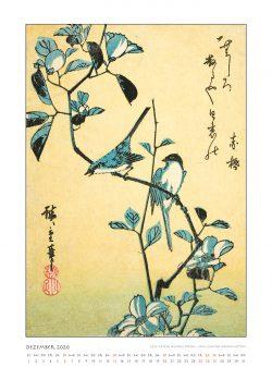 """Dezemberblatt zum Kalender """"DIe Eleganz der Vögel in historischen japanischen Holzschnitten"""""""