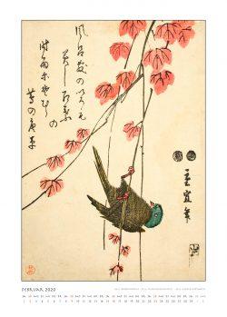 """Februarblatt zum Kalender """"DIe Eleganz der Vögel in historischen japanischen Holzschnitten"""""""