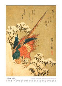 """Januarblatt zum Kalender """"DIe Eleganz der Vögel in historischen japanischen Holzschnitten"""""""