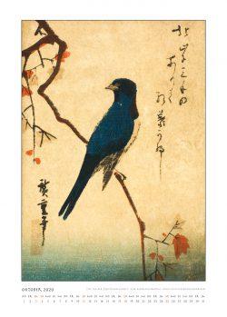 """Oktoberblatt zum Kalender """"DIe Eleganz der Vögel in historischen japanischen Holzschnitten"""""""
