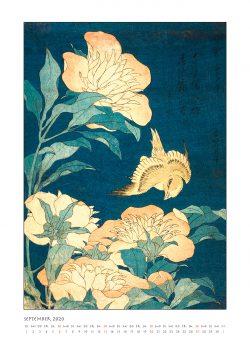 """Septemberblatt zum Kalender """"DIe Eleganz der Vögel in historischen japanischen Holzschnitten"""""""