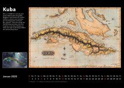 Inseln der Karibik – Bildkalender mit historischen Karten und modernen fotos aus Weltall, Ausgabe 2020. Kuba, Cuba