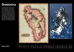 Inseln der Karibik – Bildkalender mit historischen Karten und modernen fotos aus Weltall, Ausgabe 2020. Dominica