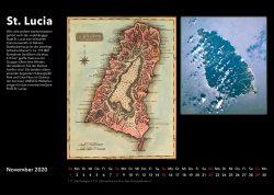 Inseln der Karibik – Bildkalender mit historischen Karten und modernen fotos aus Weltall, Ausgabe 2020. St. Lucia