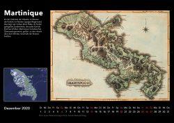 Inseln der Karibik – Bildkalender mit historischen Karten und modernen fotos aus Weltall, Ausgabe 2020. Martinique