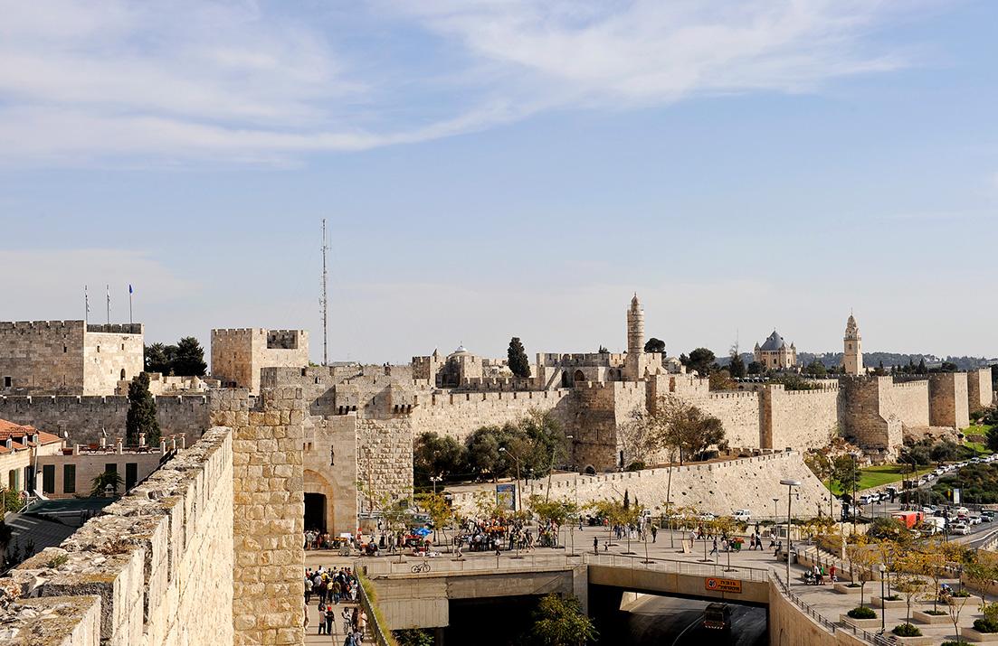 Stadtmauer von Jerusalem mit Damaskustor