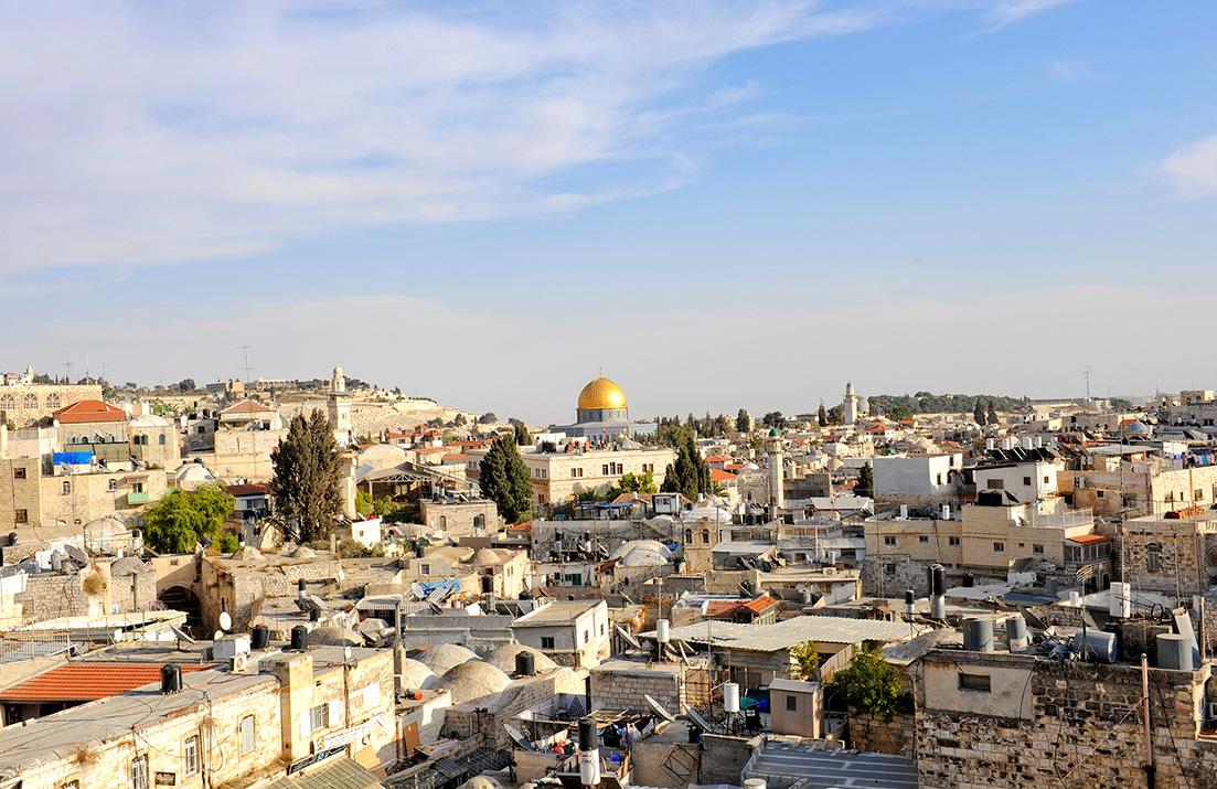 Dachlandschaft von Jerusalem mit Felsendom