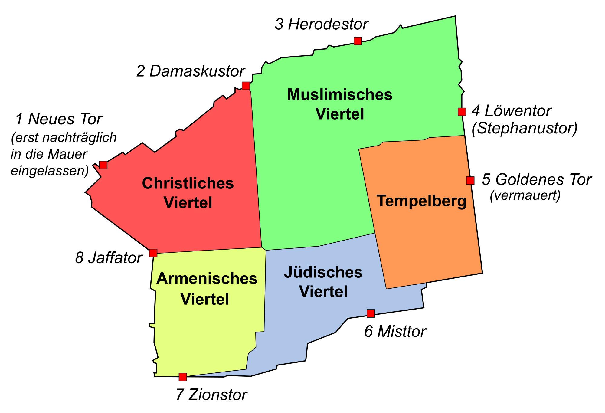 Planzeichnung der Altstadt von Jerusalem