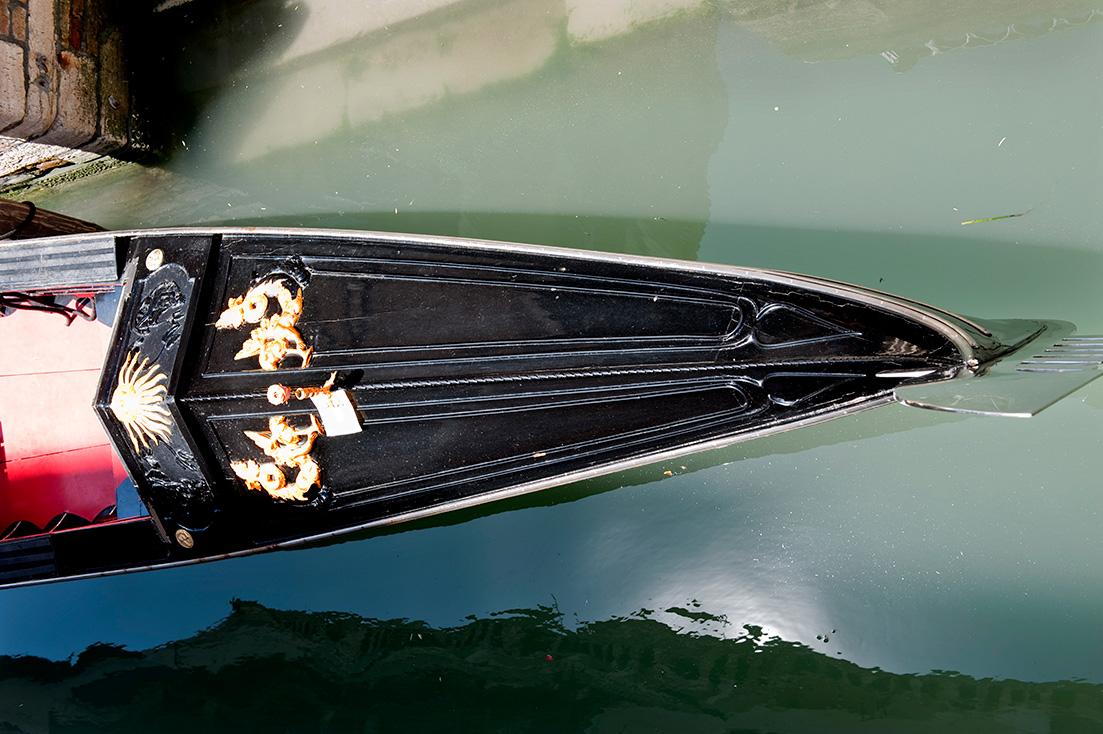 Venedig, Gondola, schwarz, von oben