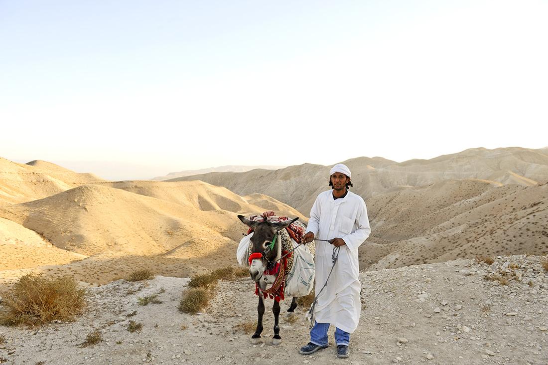 Andenkenverkäufer mit Esel in der Wüste bei Jericho